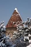 Mosque after a snowfall. Erzurum, Turkey.
