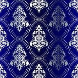 Silver-on-Blue seamless Indian pattern with dots