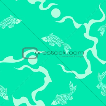 Aquamarine seamless Asian fish pattern