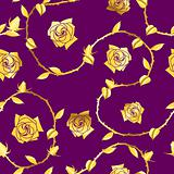 Gold-on-Purple seamless rose sari pattern