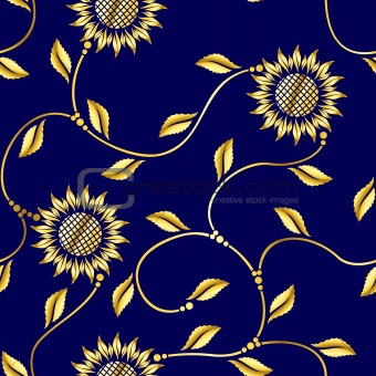Seamless sunflower arabesque sari pattern