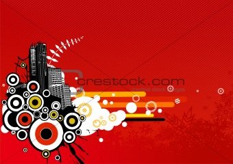 City with stripes. Vector