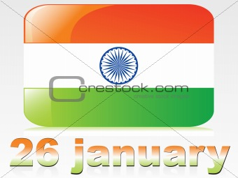 26 january with flag isolated on gray, vector