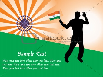a indian silhouette holding country flag, vector