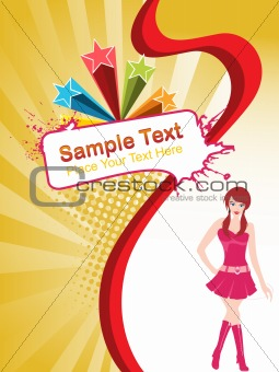 a young beautiful modern girl with place for text, vector