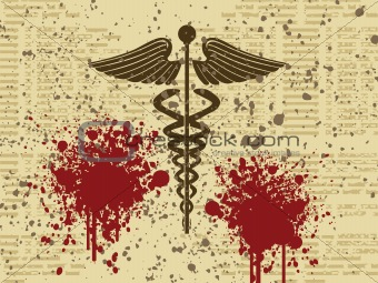 caduceus medical symbol on grunge background