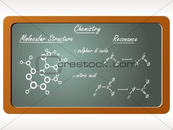 chalkboard in the chemistry class, illustration