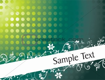 floral clip-art with sample text, green wallpaper