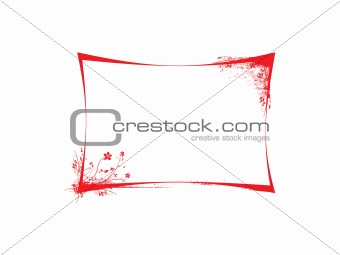 floral frame in red background, vector