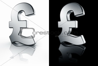 Pound sign on white and black reflective floor