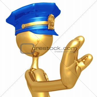 Golden Police Officer Stop Gesture