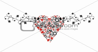abstract illustration with floral, circles and hearts