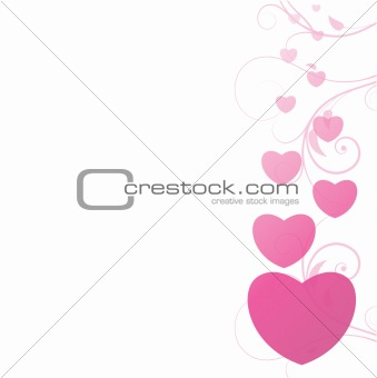 valentine illustration of a background with floral and hearts