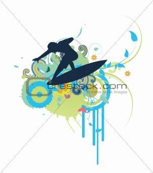 abstract illustration with floral, grunge and surfer