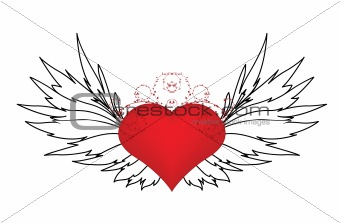 valentine illustration with heart, floral and wing