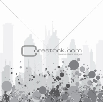 abstract illustration with floral, grunge and city
