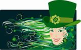 Leprechaun lady in green hat on Patrick Day