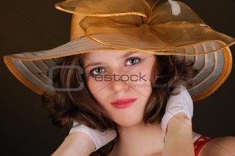 portrait of beautiful  woman in a hat