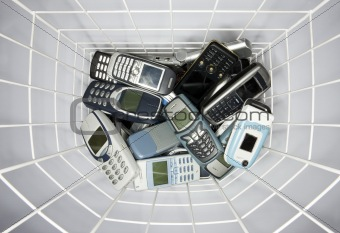 Cellphones in a basket