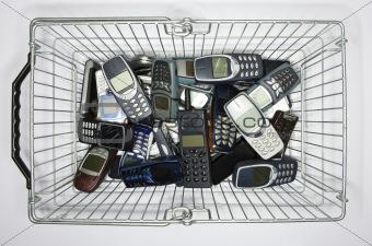 Cellphones in a basket