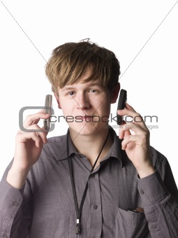 Young man with cellphones