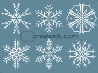 Six snow flakes