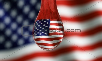 American flag seen trough water droplet