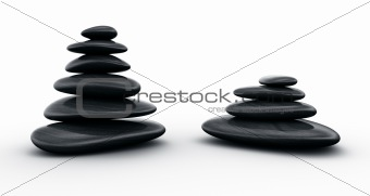 Black stones stacked