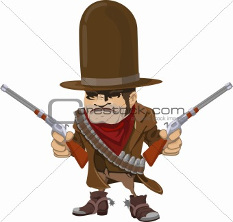 Cowboy gunman with rifles