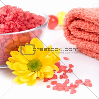 bath salt, towel and flower