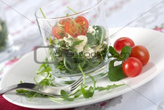 Small salad served in a glass