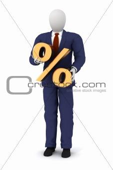 3d human holding a percent