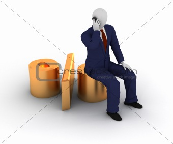 3d human sitting on percent