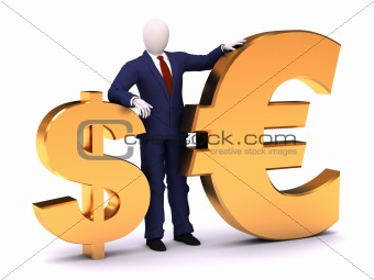 3d human staying with dollar and euro