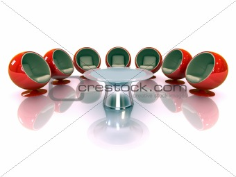 3d modern chairs around a table