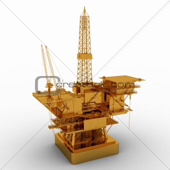 Oil Rig golden model isolated on white background