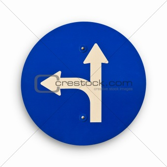 arrow blue traffic sign, clipping path.