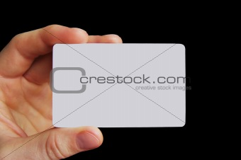 blank business card isolated on black
