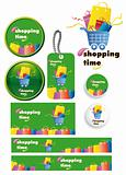shopping time vector set