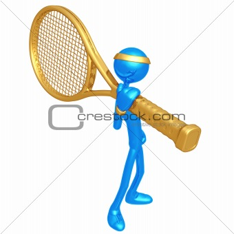 Tennis Player With Giant Racquet