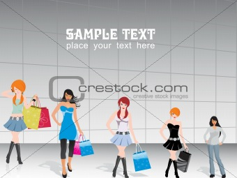 vector, group of five shopping girls