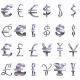 3D Eccentric  Silver Currency Symbols