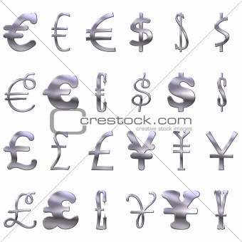 3D Eccentric  Silver Currency Symbols