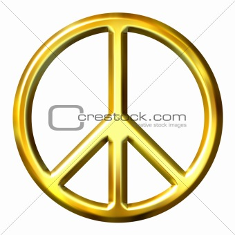 3D Golden Peace Symbol