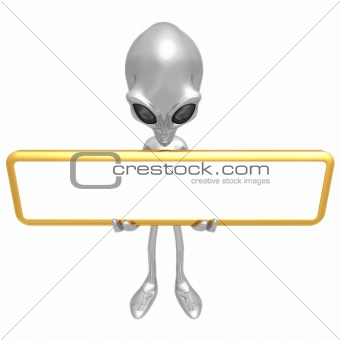 Alien With Blank Sign