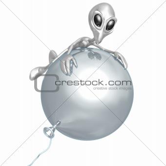 Alien On Balloon