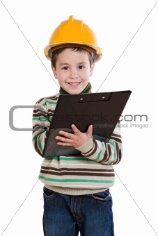Adorable future engineer writing isolated