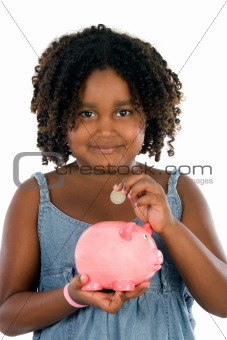 African girl whit money box