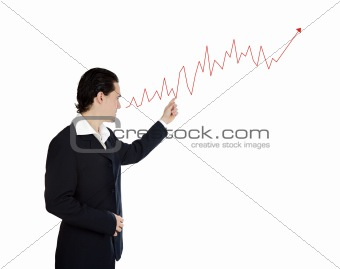 Attractive businessman with a graph