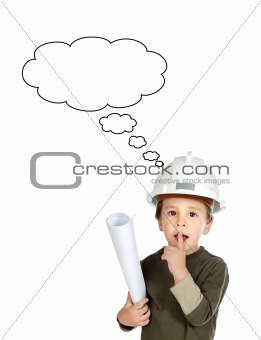 Adorable future engineer thinking isolated